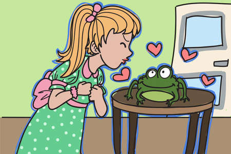 hoping: Girl kissing a frog hoping to become a prince Illustration