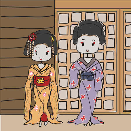 Two geisha s posing Stock Vector - 19367616