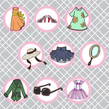hand mirror: Set of fashion objects on a vintage background Illustration