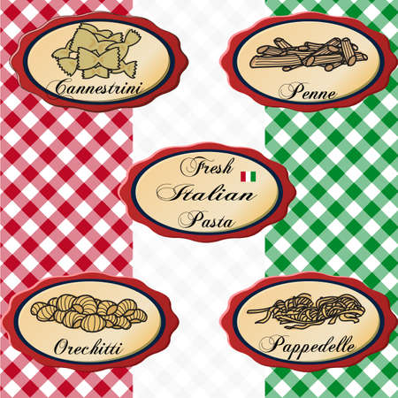 Italian food signs on a vintage italian flag colored background Illustration