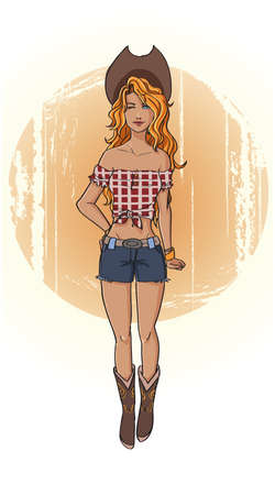 Vintage pin up style cartoon American cowgirl Vector