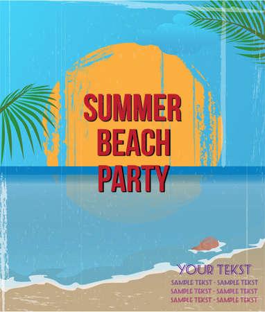 caribbean sea: Vintage summer beach poster