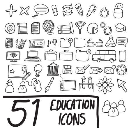 education and communication icons in black and white Stock Vector - 19907703