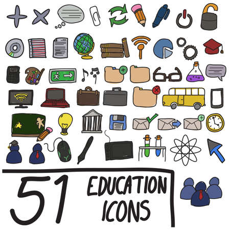 Education and communication icons in color Stock Vector - 19907705