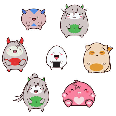 space invaders game: Set uf cute happy japanese style monsters