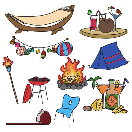 camping equipment: Set of hand drawn camping equipment Illustration