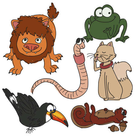 set of cute cartoon animals Illustration