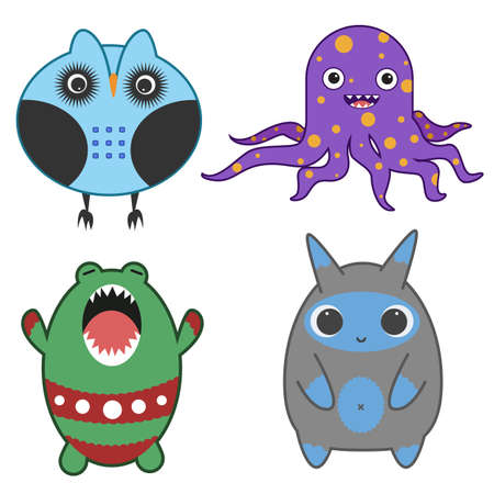 space invaders game: Set of Japanese style cartoon monsters Illustration