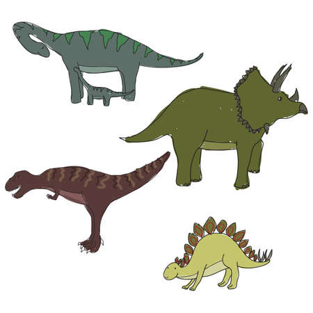 Set of cute little dinosaurs Vector