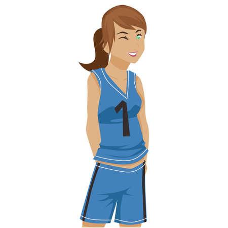 baloncesto chica: Imagen de una chica de baloncesto de dibujos animados Vectores