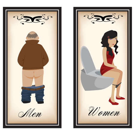 restroom sign: Toilet tags Illustration