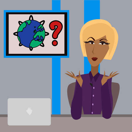newsreader: Image of an anchorwoman reading the news Illustration
