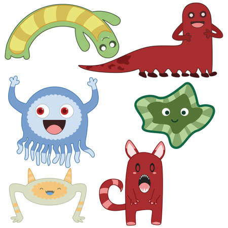 Collection of cute little cartoon monsters Vector