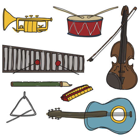 Set of freehand drawn instruments Illustration