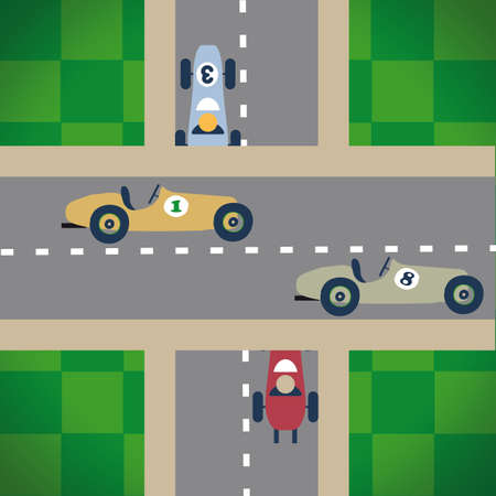 image of a vintage car race