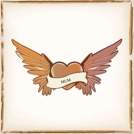 Vintage tattoo heart with angel wings Vector