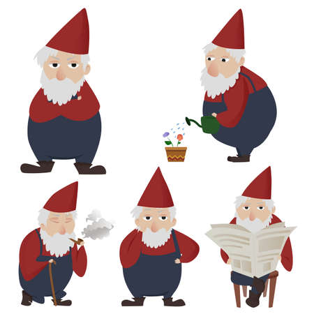 Set of hand drawn gardening gnomes Vector