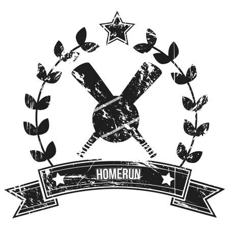 Image of a grunge baseball label with home run text  Illustration