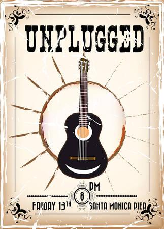 Vintage guitar concert poster with grunge effect