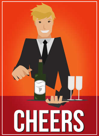 Art deco poster with handsome waiter serving wine and glasses