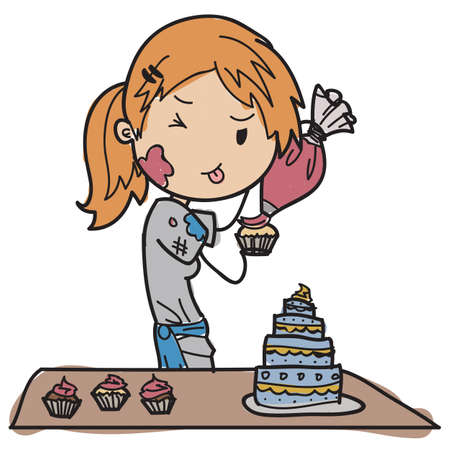 Young pastry chef Vector