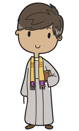 Young vector priest holding his bible
