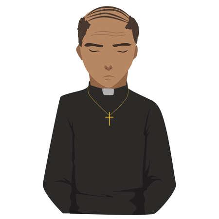 bible shepherd: praying priest vector Illustration