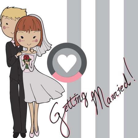 tailcoat: wedding card with bride and groom