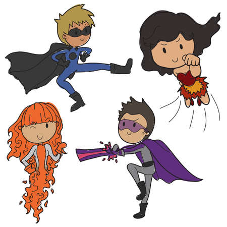 doodle style vector action heroes Vector