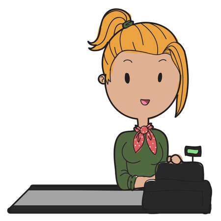 doodle style cashier vector Vector