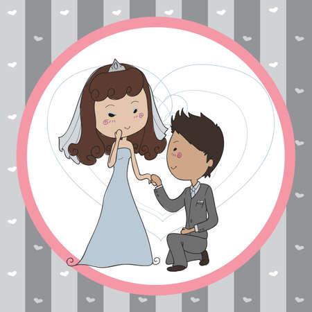 pronounce: doodle boy pronouncing to his girlfriend Illustration