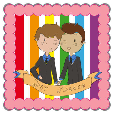 male gay couple ready to get married Vector