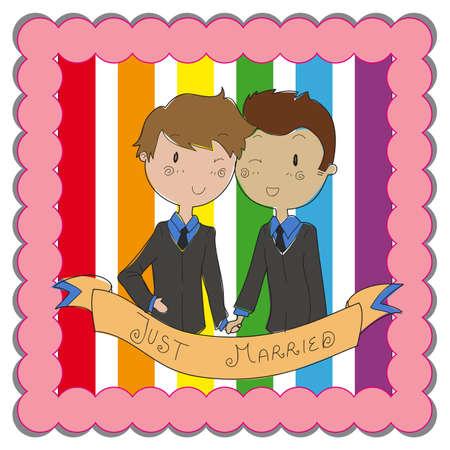 boda gay: pareja gay masculina listo para casarse Vectores