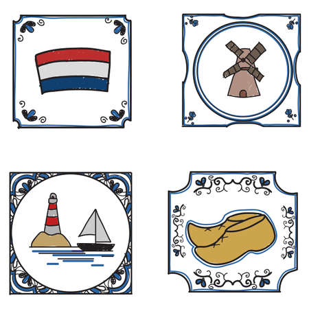 traditional freehand drawn dutch tiles Vector