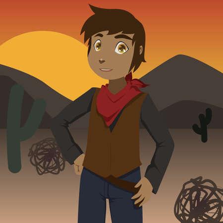 cowboy on sunset Vector