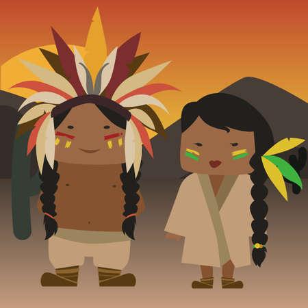 cartoon native american Illustration