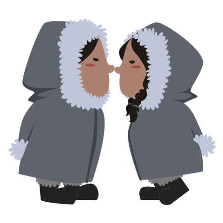 eskimo couple Ilustração