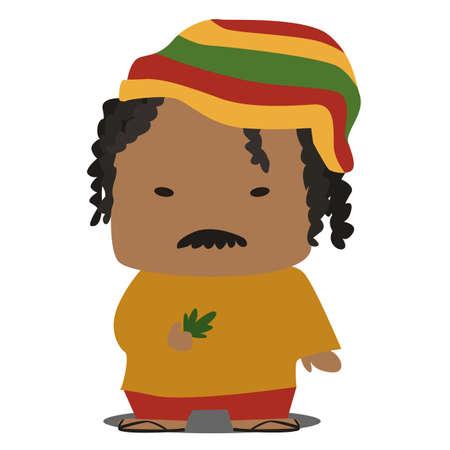 dreads: cartoon jamaican Illustration