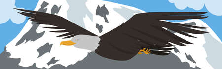 rapacious: flying eagle vector on mountain background