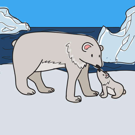 adult polar bear with baby polar bear vector Vector