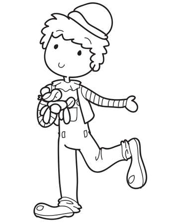 coloring sheet: clown coloring sheet outlined Illustration