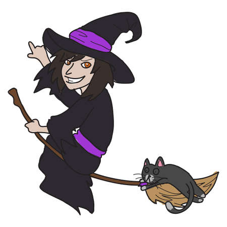 cartoon witch vector hand drawn Vector