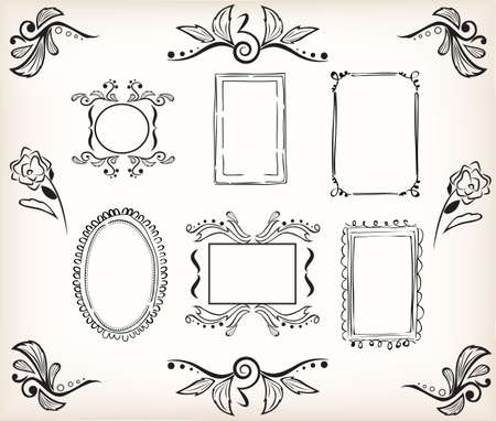 calligraphic borders and frames victorian style Vector