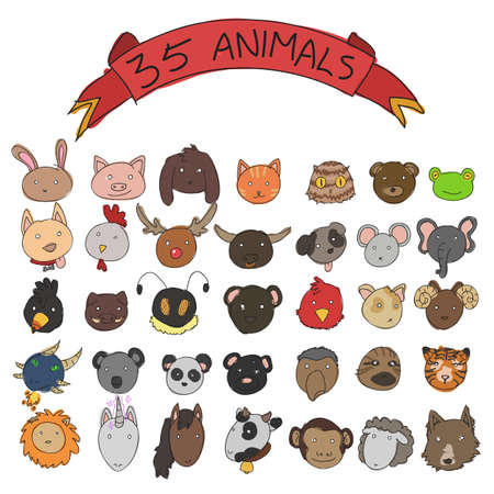 animal heads vector doodle style Vector