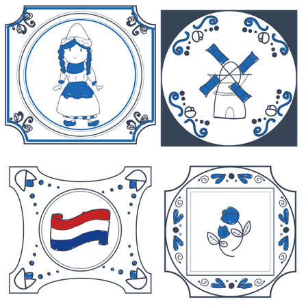 delftware: dutch tiles vector hand drawn