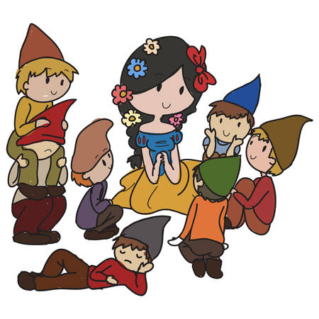 fairytale with princess and dwarfs Vector