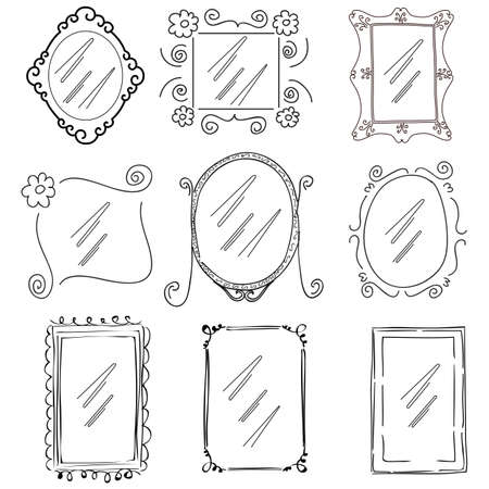 set of doodle black and white vector picture frames