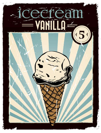 Affiche de la crème glacée à la vanille de cru Banque d'images - 27440564