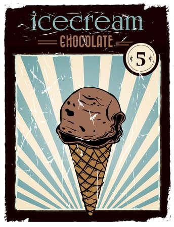 vintage chocolate ice cream poster Ilustração