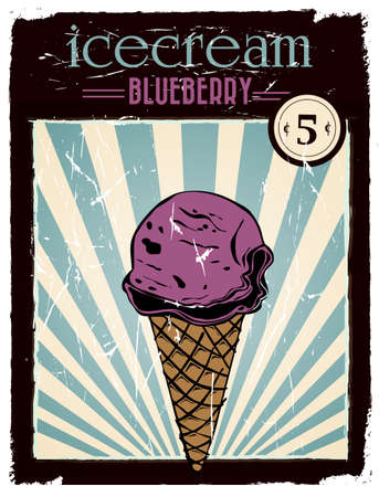 vintage blueberry ice cream poster
